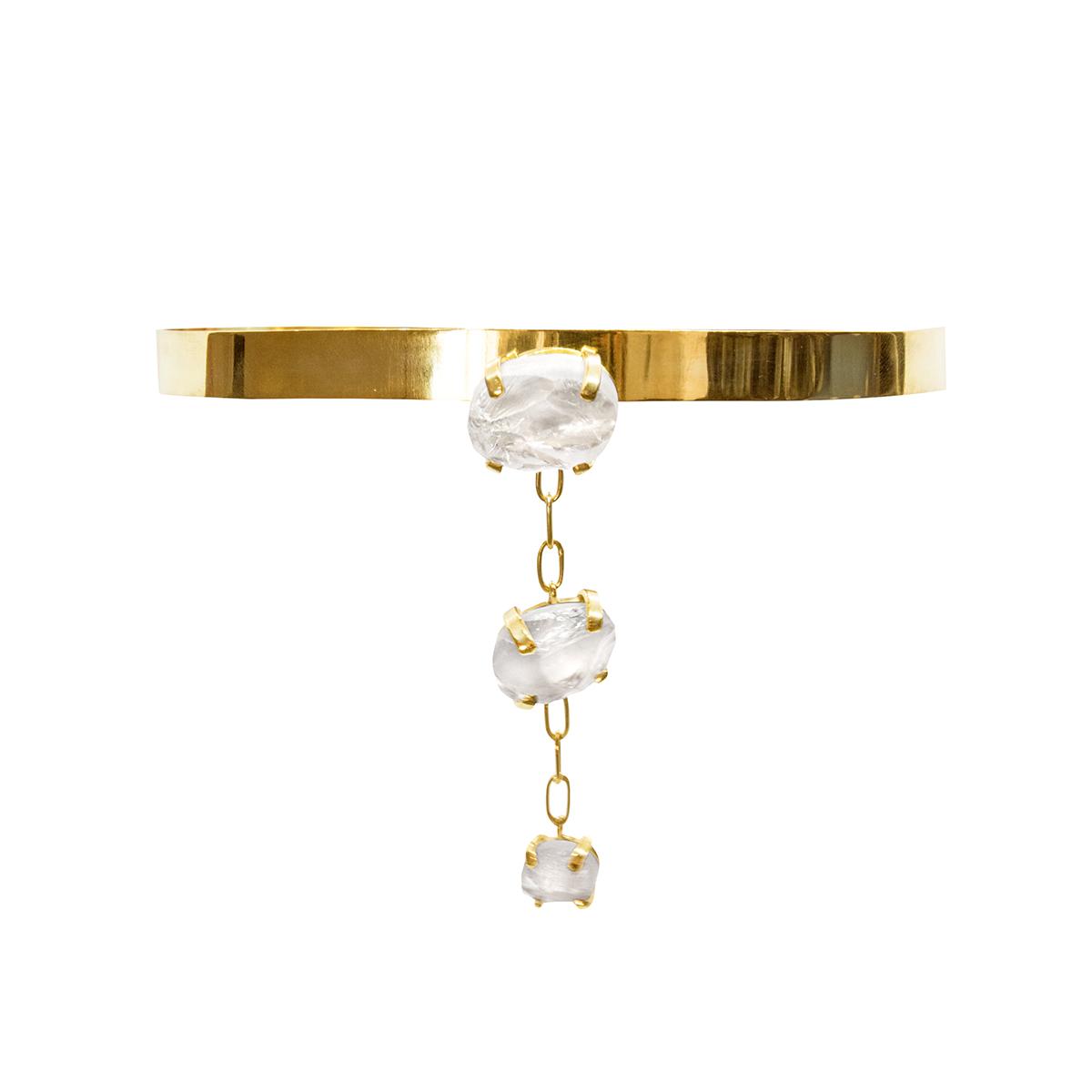 Collar chocker Halley con cuarzo blanco de plata 925 y bañado en oro de 22 quilates