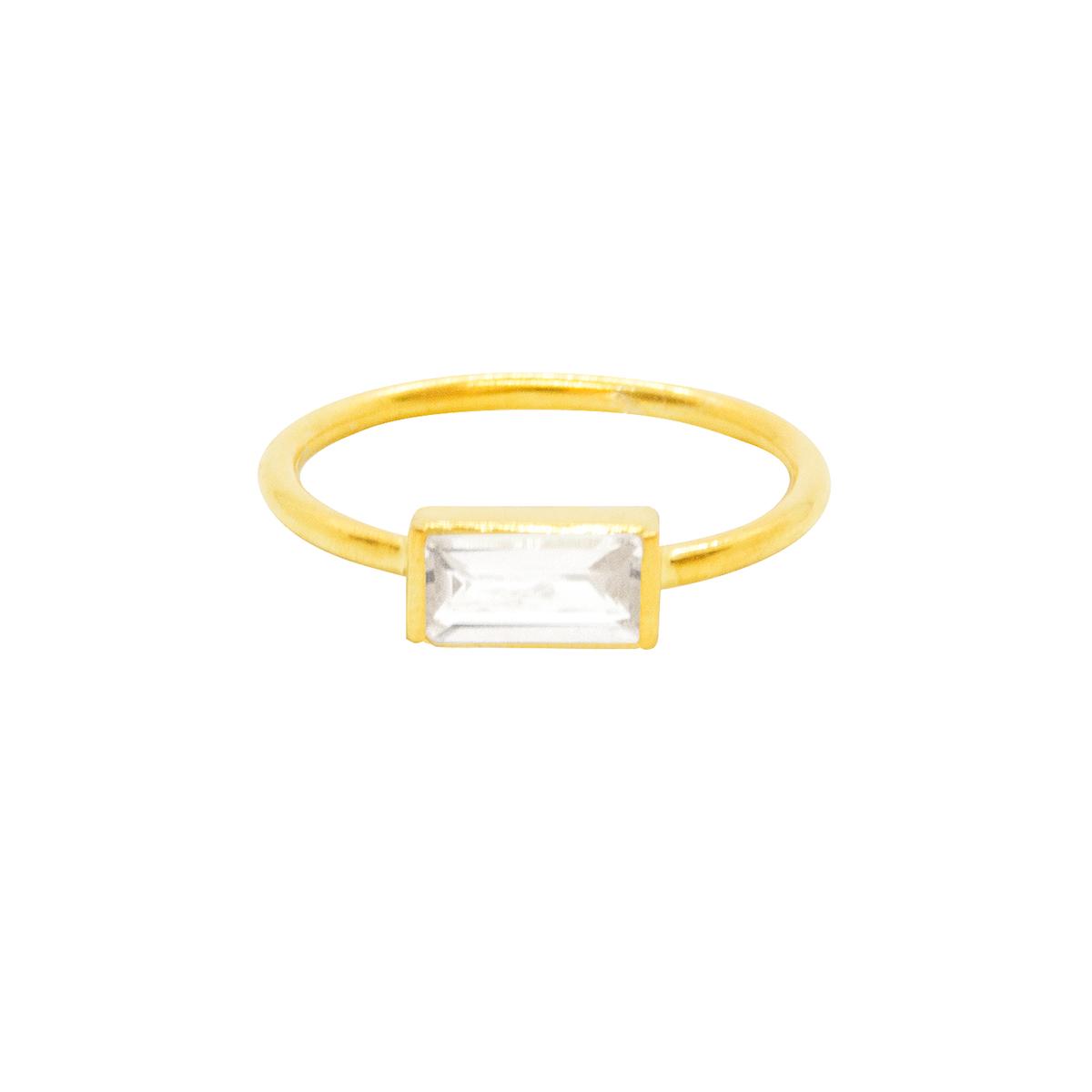 Anillo Aurora con cuarzo blanco de plata 925 bañado en oro de 22 quilates