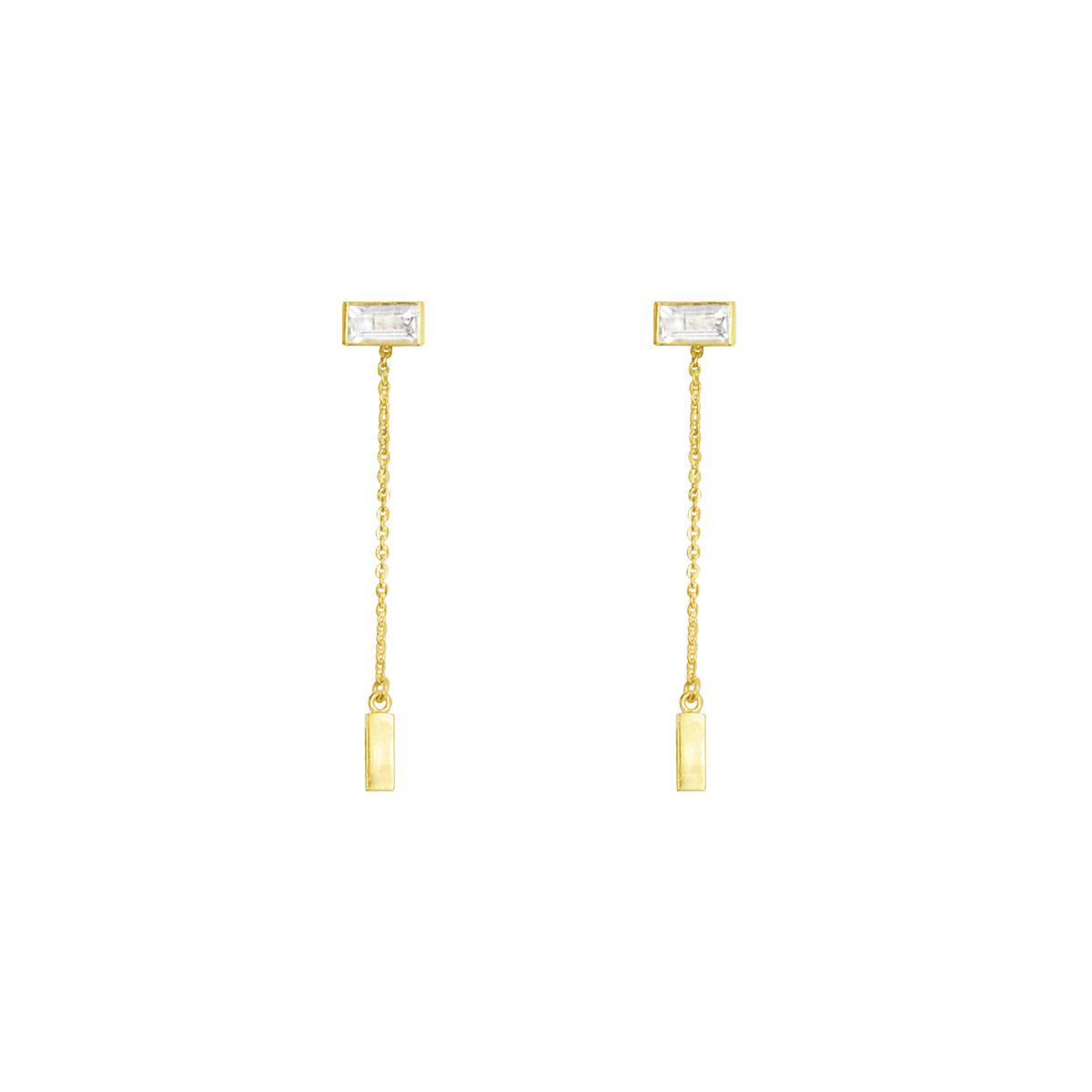 Pendientes Aurora bañados en oro de 22 quilates y cuarzo blanco