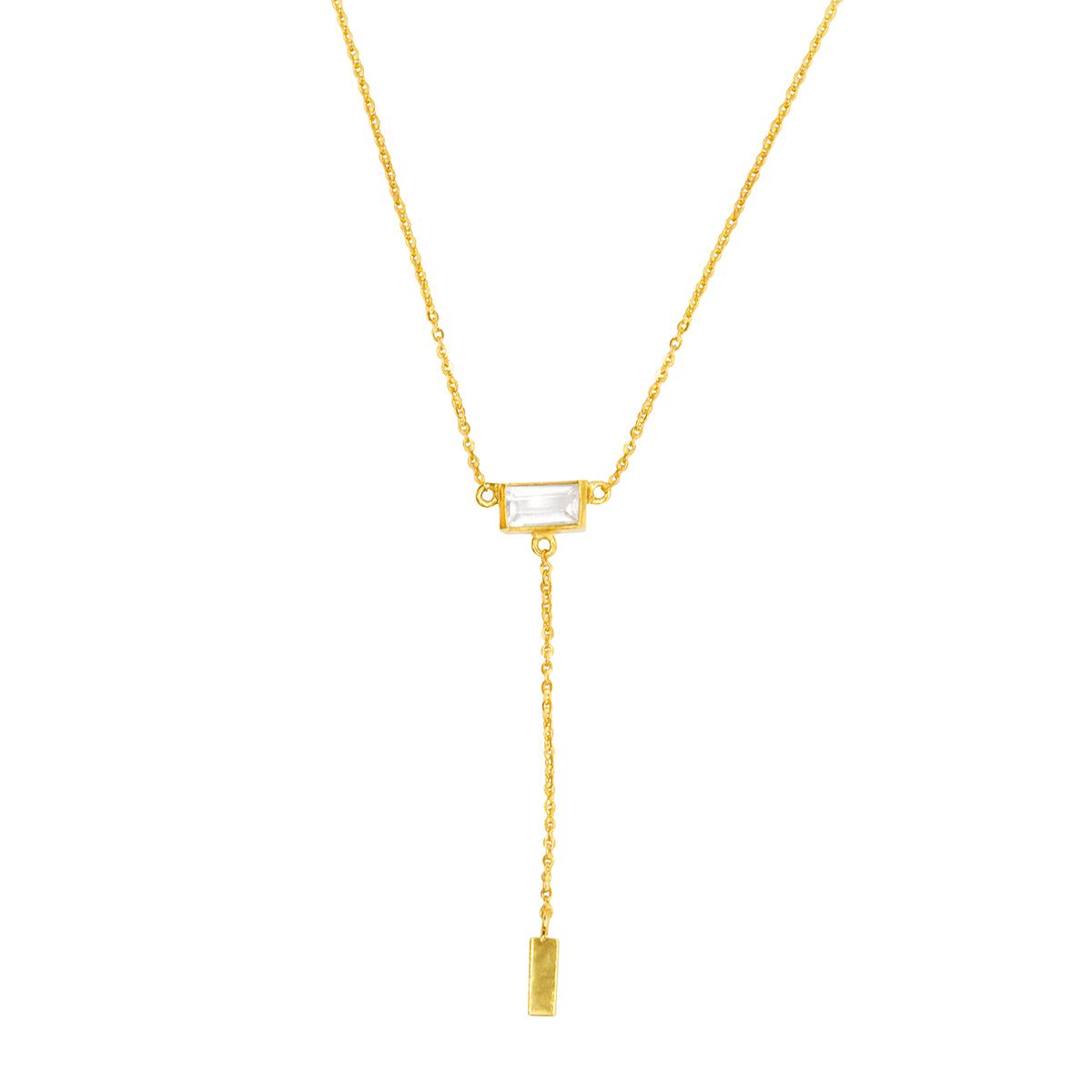 Collar Aurora plata bañada en oro 22 quilates y cuarzo blanco