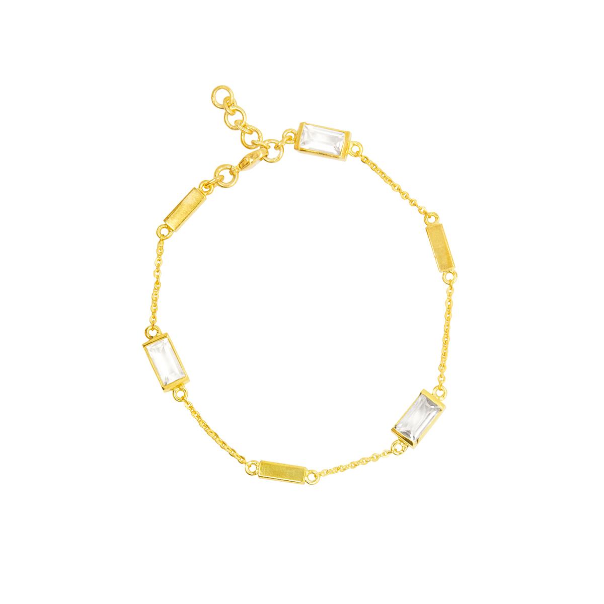 Pulsera Aurora bañada en oro de 22 quilates con cuarzo blanco