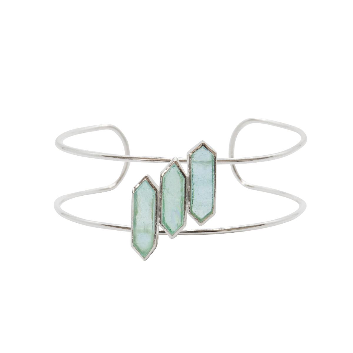 Brazalete Mensa de plata con aguamarinas de Edein Jewels