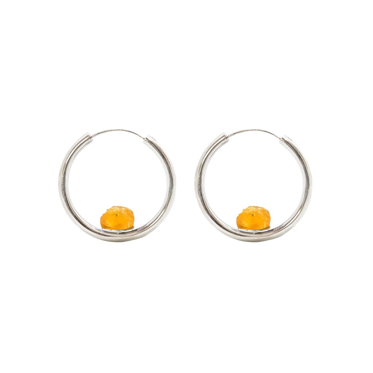 pendientes aro Saturno plata y citrino